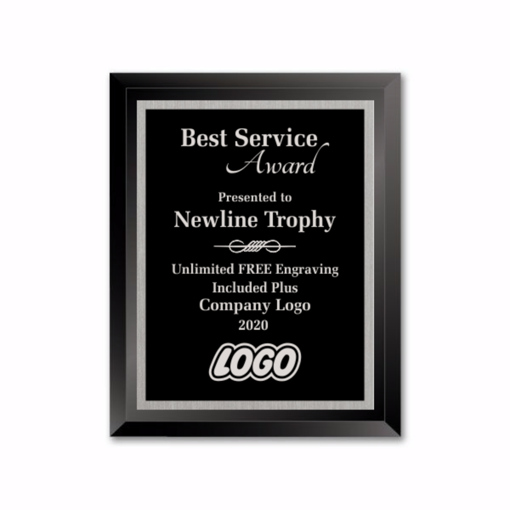 "8"" x 10"" Glass Custom Plaque with black glass plaque and black aluminum engraving plate"