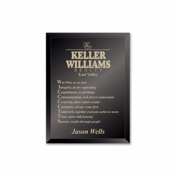 """Ebony Glass Plaque with gold color filled sand etched text and logo 7"""" x 9"""""""