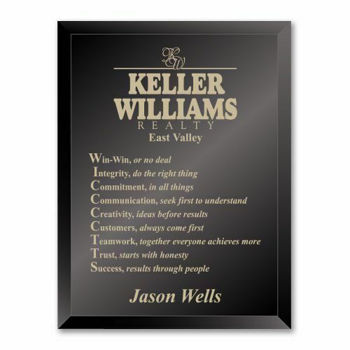 """Ebony Glass Plaque with gold color filled sand etched text and logo 9"""" x 12"""""""