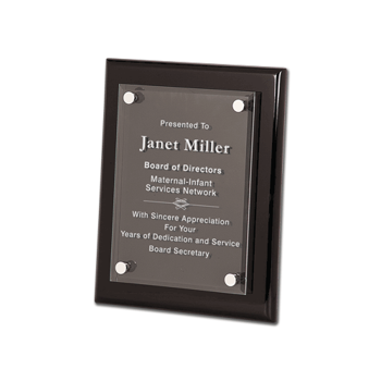 """Black Piano Finish Floating Glass Plaque with clear glass plate and aluminum hardware 8"""" x 10"""""""