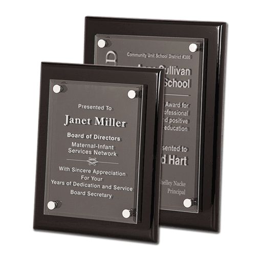 Black Piano Finish Floating Glass Plaque with clear glass plate and aluminum hardware shown two sizes