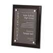 Black Piano Finish Floating Glass Plaque with clear glass plate and aluminum hardware
