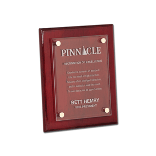"""Rosewood Piano Finish Glass Award Plaque with clear glass and aluminum hardware 8"""" x 10"""""""