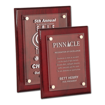 Rosewood Piano Finish Floating Glass Plaque with clear glass plate and aluminum hardware shown two sizes