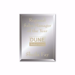 """Reflections Glass Plaque with gold color filled sand etched text and logo 7"""" x 9"""""""