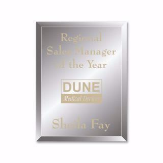 """Reflections Glass Plaque with gold color filled sand etched text and logo 8"""" x 10"""""""