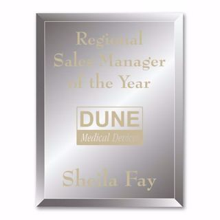 """Reflections Glass Plaque with gold color filled sand etched text and logo 9"""" x 12"""""""