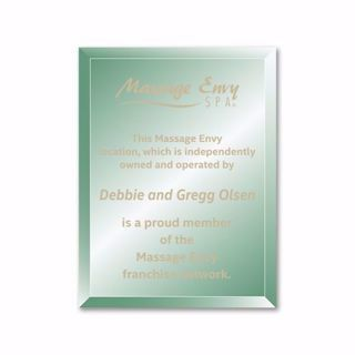 """Verdigris Glass Plaque with gold color filled sand etched text and logo 8"""" x 10"""""""