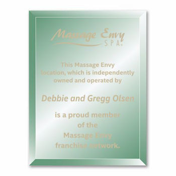 """Verdigris Glass Plaque with gold color filled sand etched text and logo 9"""" x 12"""""""