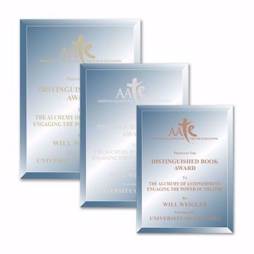 Azul Glass Plaque shown three sizes with gold, silver and copper filled sand etched text and logo