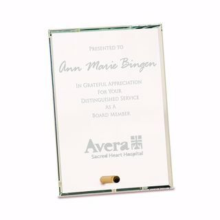 Rectangle Premier Glass Stand-Up Plaque with sand etched logo and text