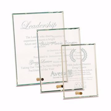 Rectangle Premier Glass Stand-Up Plaque with sand etched logo and text shown three sizes