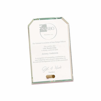 """Notched Premier Glass Stand-Up Plaque with sand etched logo and text 4"""" x 6"""""""