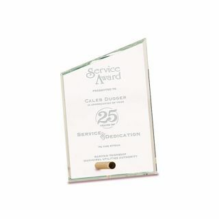 """Slant Premier Glass Stand-Up Plaque with sand etched logo and text 4"""" x 6"""""""