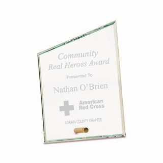 """Slant Premier Glass Stand-Up Plaque with sand etched logo and text 5"""" x 7"""""""