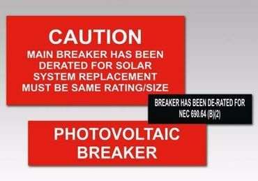 Picture for category Breaker Solar PV Warning Labels